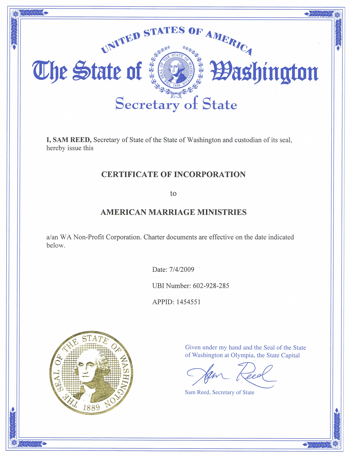 American Marriage Ministries Certificate of Incorporation