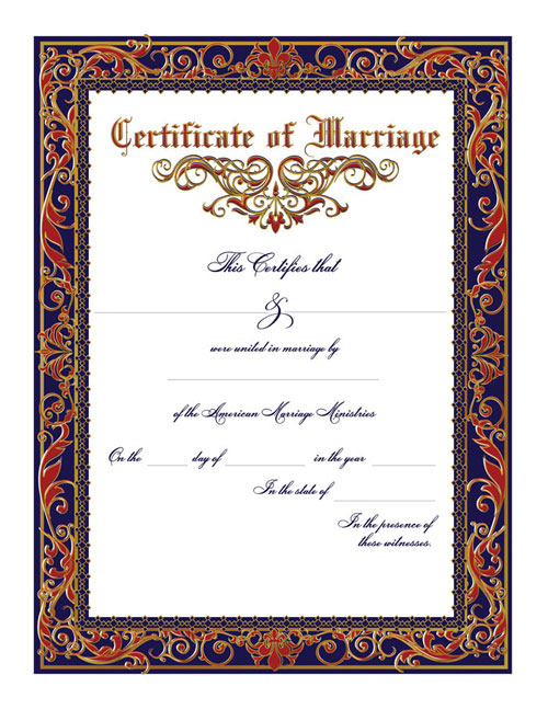 Traditional Marriage Certificate