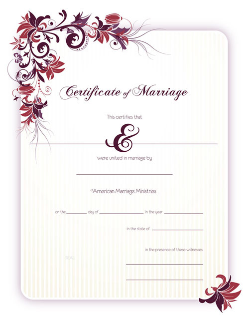 Floral Marriage Certficate