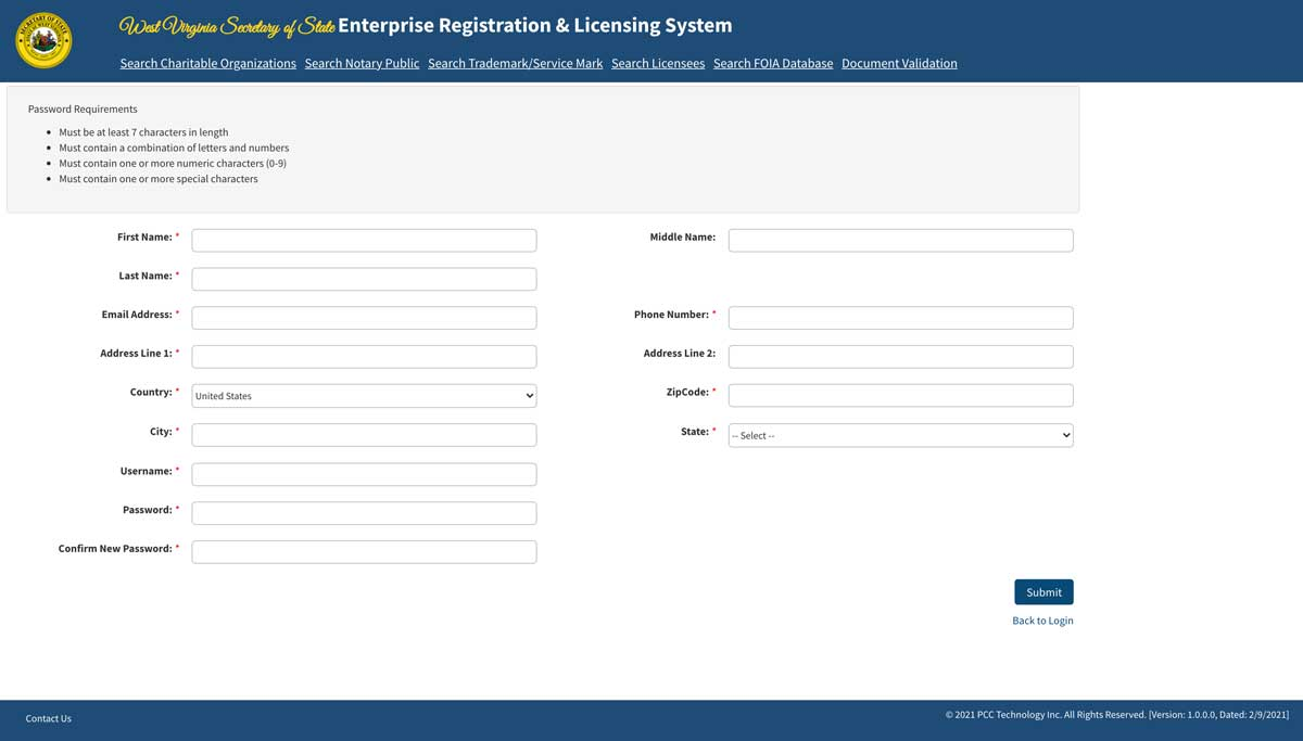 West Virginia Secretary of State Officiant Registration Account Creation