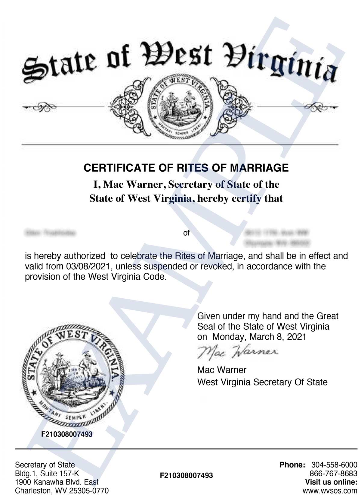 West Virginia Secretary of State Marriage Celebrant Approval Certificate