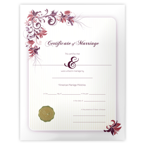 floral marriage certificate american marriage ministries