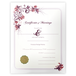 'Floral' Marriage Certificate
