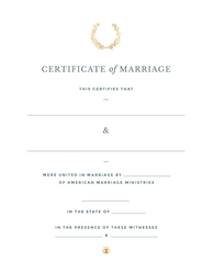 Harvest Crest Marriage Certificate