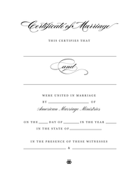 Timeless Marriage Certificate