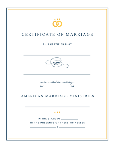 Personalized AMM Signature Marriage Certificate