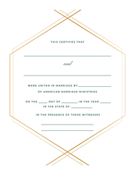 Personalized Modern Geo Marriage Certificate
