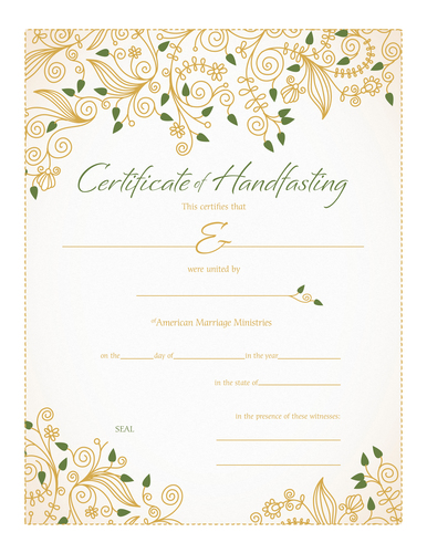Personalized Handfasting Certificate