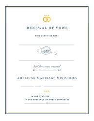 Personalized 'Signature' Renewal of Vows Certificate