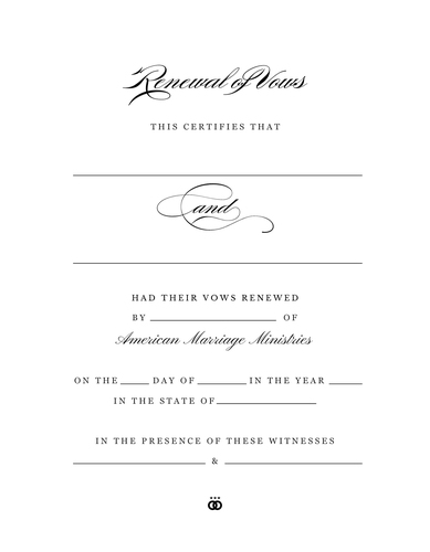 'Timeless' Renewal of Vows Certificate