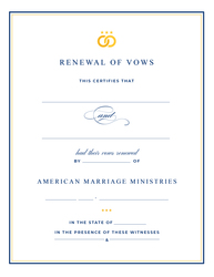 'Signature' Renewal of Vows Certificate