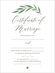 Botanical Marriage Certificate