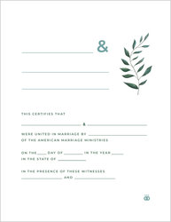 Greenery Marriage Certificate
