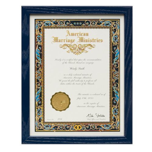 Custom Wood Certificate Frame - with Ordination Certificate