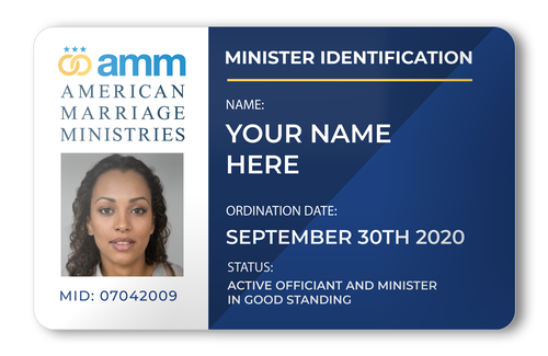AMM Minister Photo Wallet ID Card Front